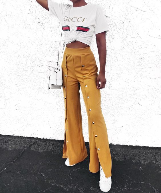 "4,314 Likes, 37 Comments - Talia (@taliacupcake) on Instagram: ""Loving the ""Mustard High Waist Flare Trousers with Popper Detail"" via @rebelliousfashion…"""