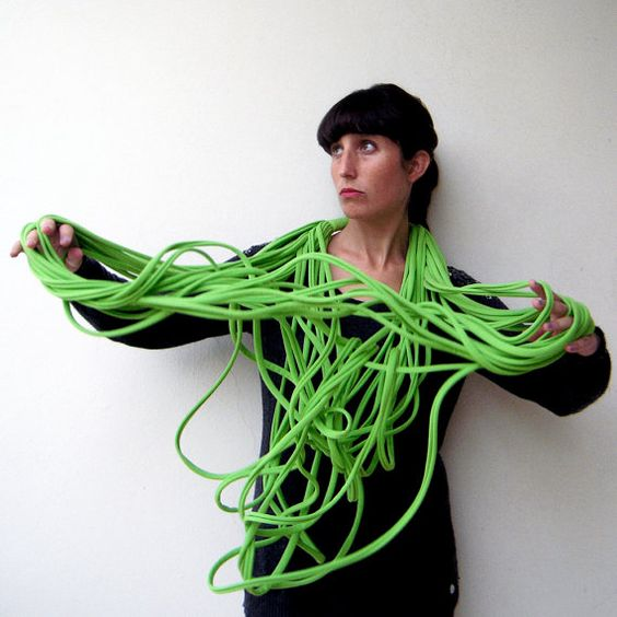 The noodle scarf  handmade in lime green by birdienumnumshop