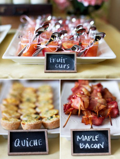 Brunch food ideas..I like the idea of fruit cups presented in a cute way: