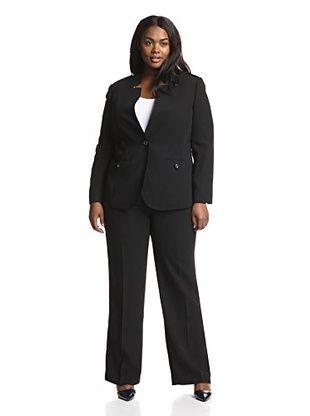 Tahari by ASL Plus Crepe Pant Suit (Black)