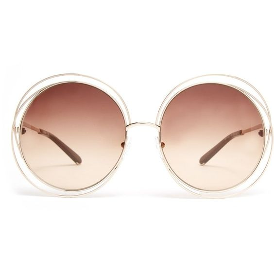Chloé Carlina round-framed sunglasses ($278) ❤ liked on Polyvore featuring accessories, eyewear, sunglasses, flip up glasses, round glasses, floral sunglasses, rounded sunglasses and summer sunglasses