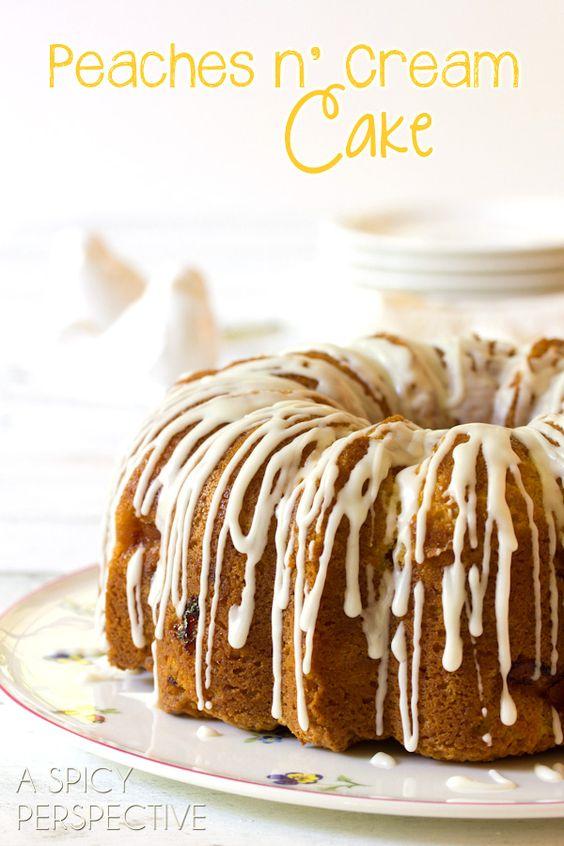 Peach Cake) Peaches n' Cream Cake on ASpicyPerspective.com #cake # ...