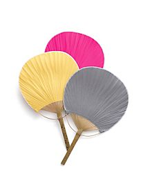 These colorful paddle fans are perfect for incorporating your wedding colors into your ceremony AND keeping your guests cool! Style 17903 #davidsbridal #summerweddings
