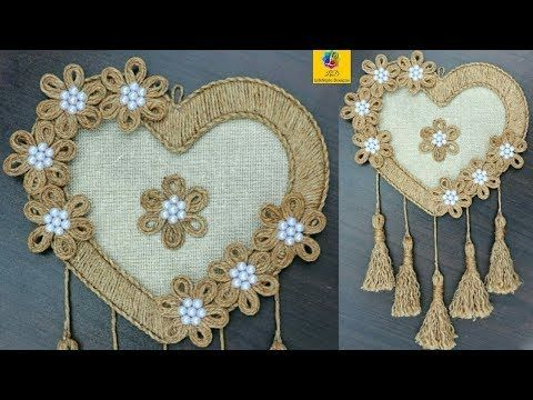 Diy Heart Shaped Wall Hanging With Jute Rope Wall Decor Showpiece Making Using Jute Rope Youtube Jute Crafts Wall Hanging Crafts Burlap Crafts