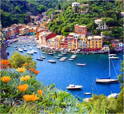 the view from Camogli, a small fishing village located on the west side of the peninsula of Portofino