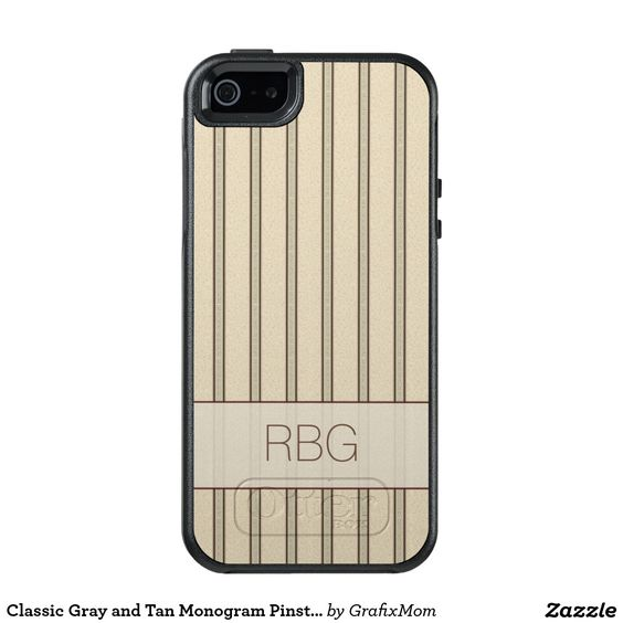 Classic Gray and Tan Monogram Pinstripes OtterBox iPhone 5/5s/SE Case