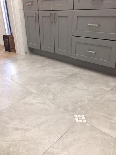 Trafficmaster Portland Stone Gray 18 In X 18 In Glazed Ceramic Floor And Wall Tile 17 44 Sq Ft Case Ulmk T Flooring Grey Kitchen Floor Tuscan Kitchen