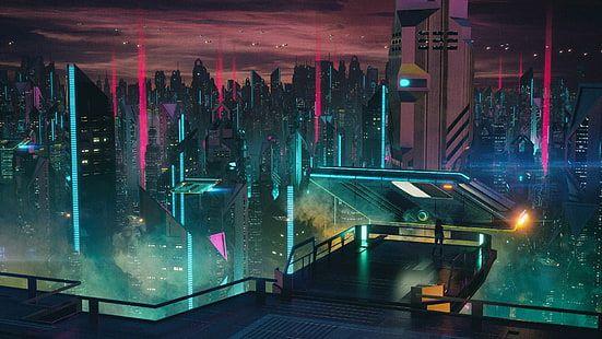 Futuristic City Illustration Aniamted City Skyline Science Fiction Hd Wallpaper In 2020 Futuristic City City Illustration Cyberpunk City