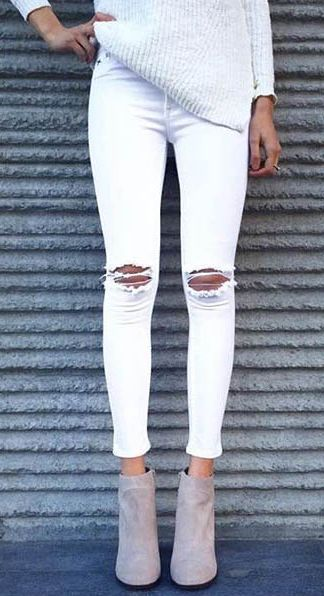 Light Knit Sweater, Distressed White Denim, Taupe Ankle Booties. Neutral Layers. #fall #fashion / all white