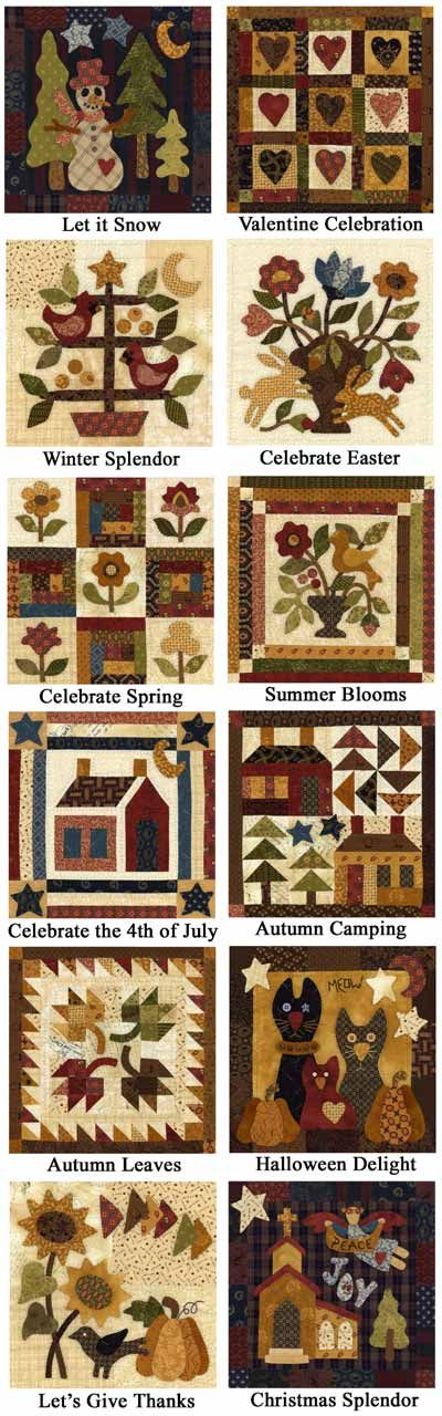 Little Quilts of the Month Program (could be made from wool, too)