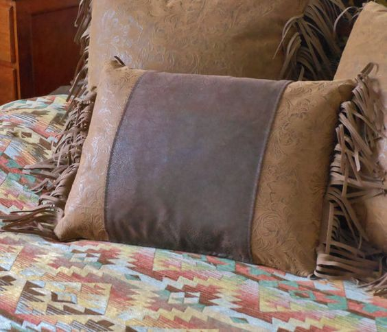 Leather Western Pillow With Fringe, Southwestern Throw