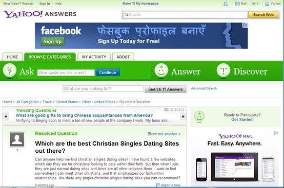 Yahoo Dating Answers Free Christian Site