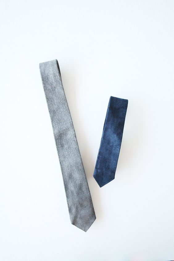 Set of 2 vintage suede leather ties in grey and navy by TurquoiseFlamingo on Etsy