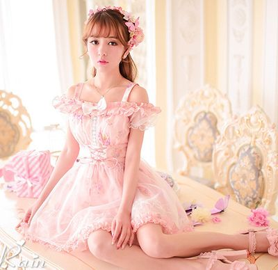 Japanese sweet bowknot bud silk chiffon floral dress