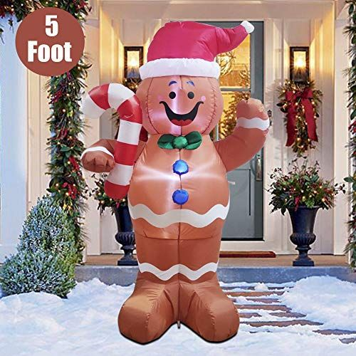 Twinkle Star 5 Ft Christmas Inflatable Led Lighted Gingerbread Inflatable Christmas Decorations Outdoor Christmas Inflatables Inflatable Christmas Decorations