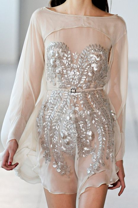 Nude chiffon and silver sparkle