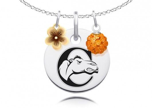 Campbell Camels Necklace with Flower Charm  Our round Campbell Camels pendant is accented with a sterling silver gold plated flower charm and a sparkly crystal ball representing the school colors. This necklace is another great way to show your spirit in style!  #sterling #silver #campbell #camels #necklace #orange #camel #university #jewelry #college