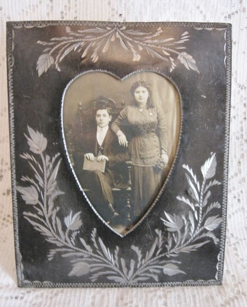Antique Anniversary Tin Photo Frame w/Victorian Couple ~ SOLD