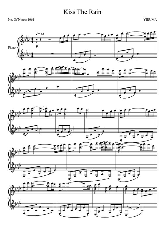 Piano : piano tabs kiss the rain Piano Tabs Kiss The also Piano ...