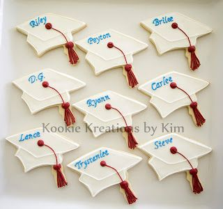 Graduation cap cookies - Kookie Kreations by Kim