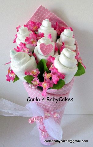Diaper bouquet pink available in my etsy shop baby for Pink diaper bouquet