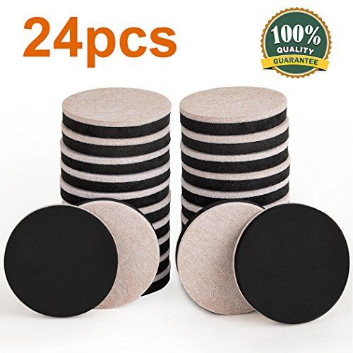 Ezprotekt 24pcs Furniture Sliders 2 5 Inch Felt Sliders Furniture Pads For Hardwood Floors And All Hard Su Furniture Sliders Furniture Pads Felt Furniture Pads