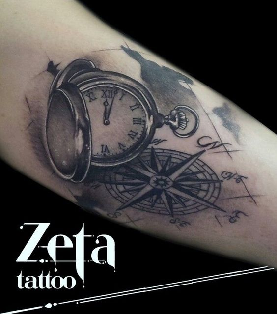 clock and compass tattoo google search tattoo pinterest compass search and map tattoos. Black Bedroom Furniture Sets. Home Design Ideas