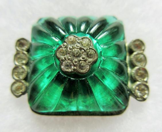 Remarkable Antique Molded Emerald GLASS on Metal BUTTON w/ Paste Rhinestones