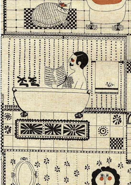 Risque Vintage Bathroom Wallpaper A 1970s Novelty Design With