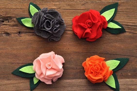 tutorial de flores em feltro industrial