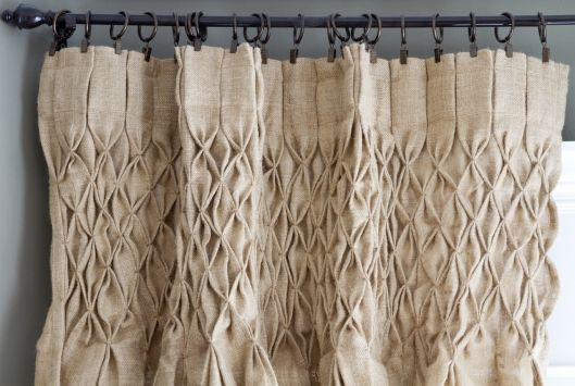 Smocked jute drop cloth curtains
