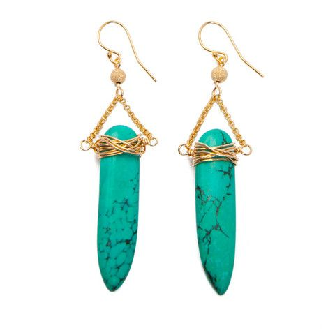 'sabre' earrings with turquoise