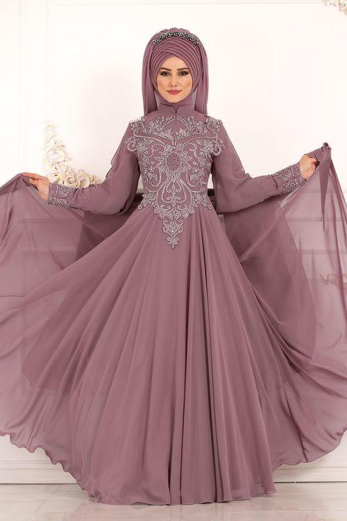Modaselvim Abiye Kollari Sifon Pelerinli Abiye Ech7271 Gul Kurusu Elbiseler Islami Giyim Kiyafet