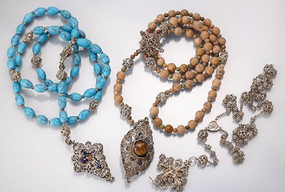 Three filigree rosaries from about 1820-30 Germany, in turquoise, jasper and silver.