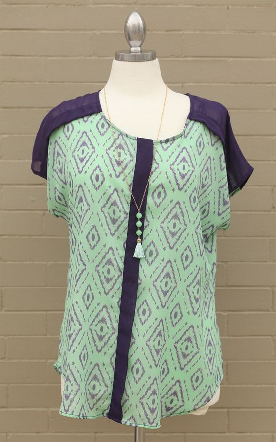 Curve~The Mint & Purple Print Top - This mint and purple top is bright and fun! Style yourself with some tribal print and pretty colors! Dress and Dwell - Good things for you and your home