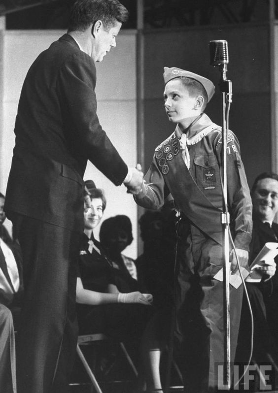 Great photo of a Star Scout meeting the first Scout to become President, John F. Kennedy.