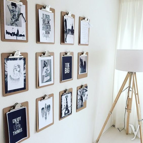 Diy Photo Wall Hanging Ideas For This Summer Photo Wall Hanging Office Wall Decor Diy Wall In 2020 Photo Wall Hanging Diy Photo Wall Clipboard Wall Art
