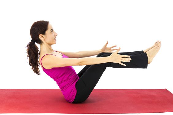 The boat pose requires strong abs to hold yourself up, so focus on keeping your legs and back straight to avoid straining