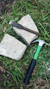 Old school way of cutting stone when you don't have the proper saw! It's easy and pretty fun! I made a raised flowerbed from these pavers, click the photo to see the project!