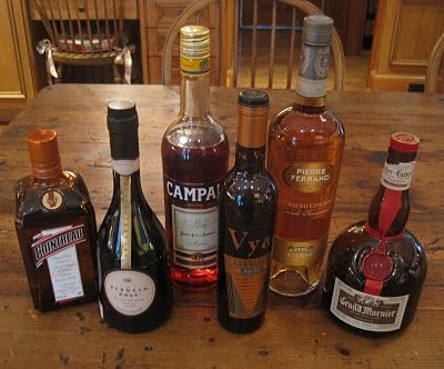 A few extras: Cointreau, Campari, Vermouth, Cognac, Grand Marnier, Port. Via the Melissa C. Morris blog.