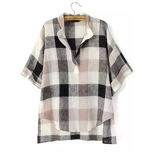 SheIn(sheinside) Black Beige V Neck Preppy Appropriately Plaid Checkered Loose Blouse