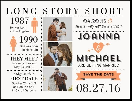Perfect Long Story Short Save the Date Postcard Future Wedding Inspiration Pinterest Shorts Wedding and Weddings
