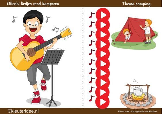 Allerlei liedjes bij thema camping voor kleuters, kleuteridee by juf Petra
