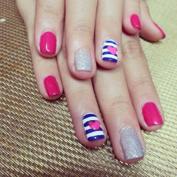 Stripes and heart♥. Nails design