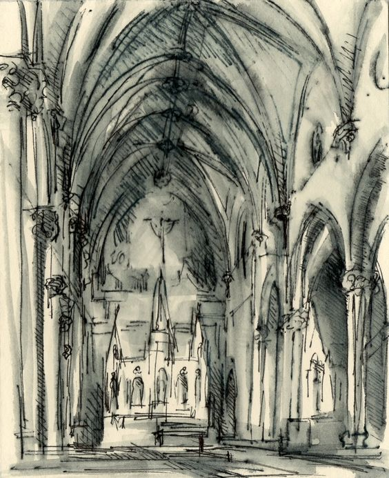 Ink drawings church and drawings on pinterest for Cheap architectural drawings