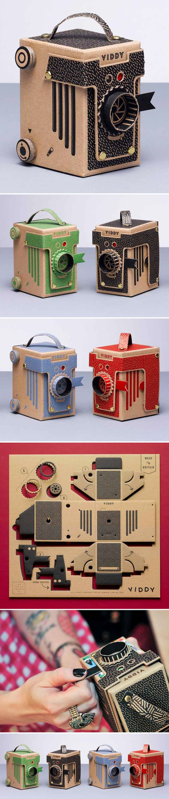 A DIY, screenprinted & diecut by hand, pinhole camera made of recycled card