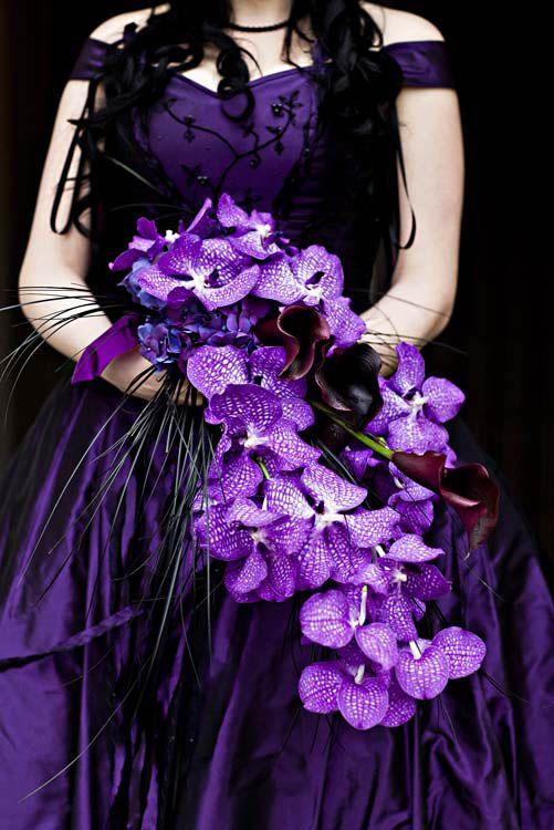 Deep Purple Wedding Dress and Bridal Bouquet