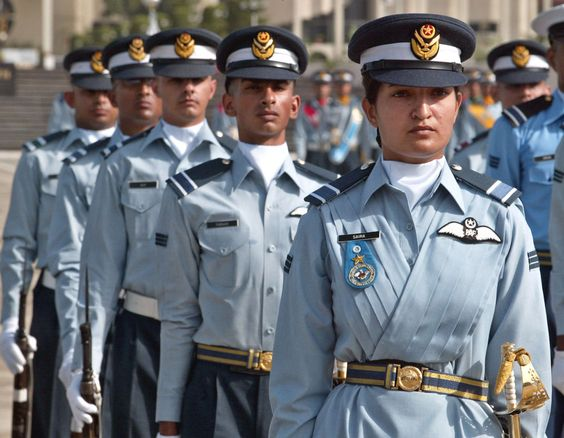 Flying officers take part in a pass-out parade at Pakistan Air Force Base in Risalpur near Peshawar, Pakistan.