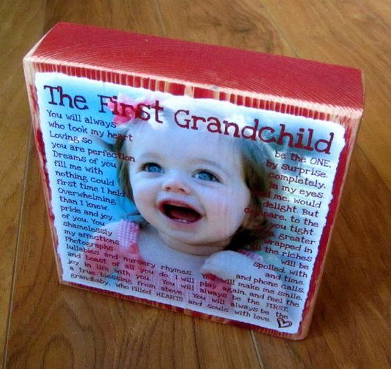 Mothers day gift idea: Larger Photo, Poem Blocks, Gift Ideas, Grandchild Poem, Granddaughter Poems, First Grandchild Gift, Photo Poem, Poems For Grandparents