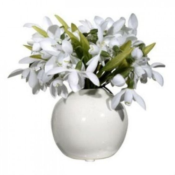 Snowdrop Plant Vase found on Polyvore featuring polyvore, home, home decor, vases, floral home decor and floral vases